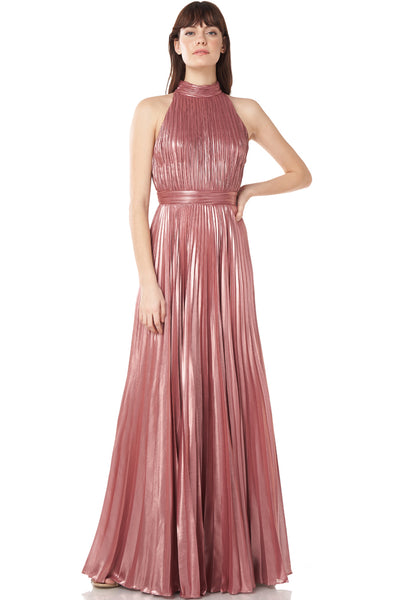 Farrah Pleated Metallic Gown by Theia Couture - RENTAL