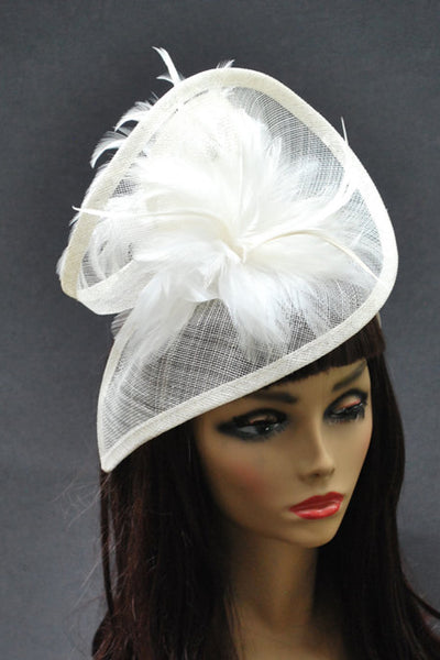 Ivory Tower White Fascinator - RENTAL
