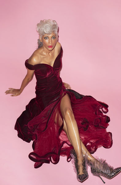 Flamenco Velvet Dress in Burgundy by Mac Duggal - RENTAL