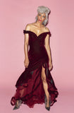 burgundy velvet floor length gown rental