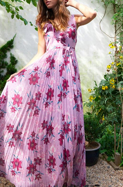 Pink floral pleated ML Monique L'Hullier Dress