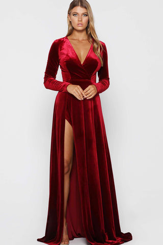 Fontaine Gown by Elle Zeitoune in Wine