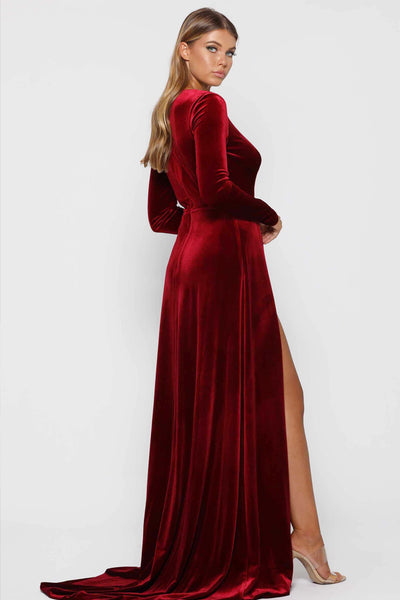 Wine Red Fontaine Gown by Elle Zeitoune