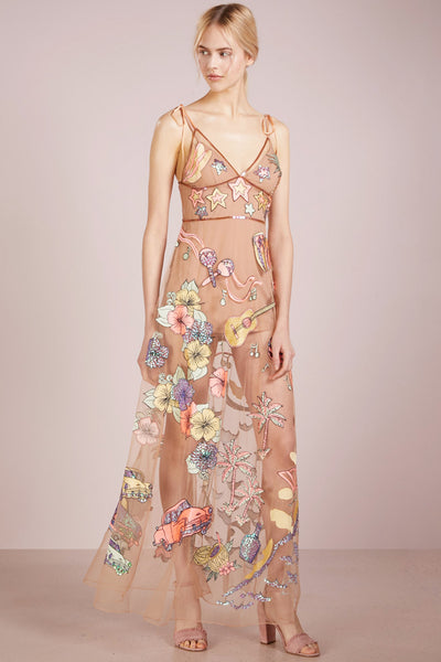 Cuba Sequin Embroidered Maxi Dress by For Love and Lemons - RENTAL