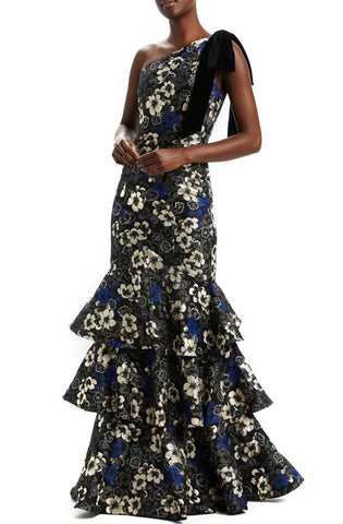 Tiered one shoulder floral gown in dusk multi by Monique L'Hullier