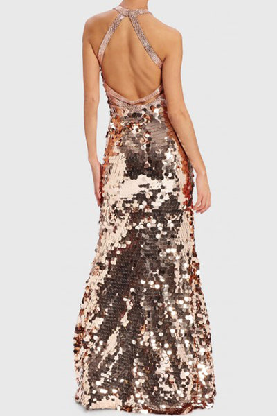 Ross Rosegold Open Back Gown by Forever Unique - RENTAL