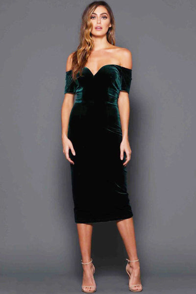 French Emerald Green Velvet Dress by Elle Zeitoune