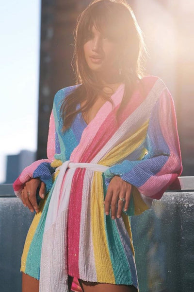Gabrielle Robe by Retrofete in Rainbow Sequin - FINAL SALE