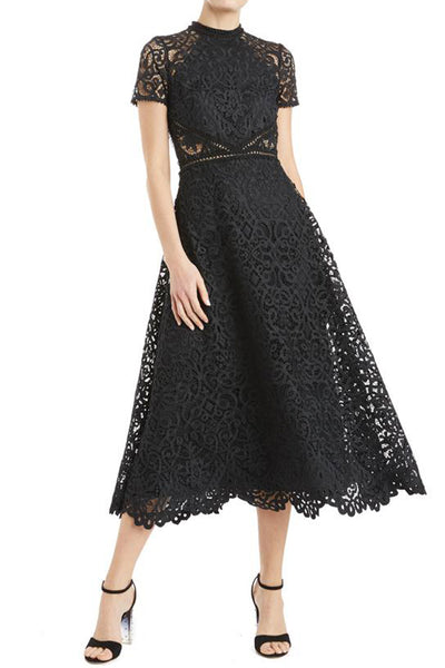 Georgina Lace Midi Dress in Black by ML Monique Lhuillier - RENTAL