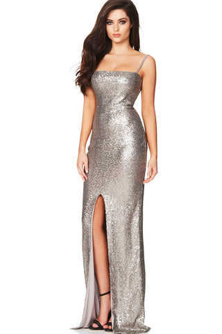 Silver Sequin Gown by Nookie