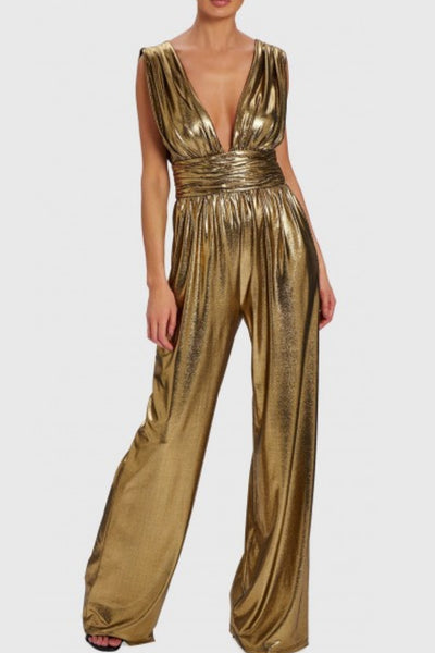gold glam disco jumpsuit rental Toronto