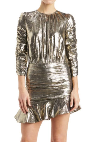Roxy Ruched Metallic Mini Dress by ML Monique Lhuillier - RENTAL