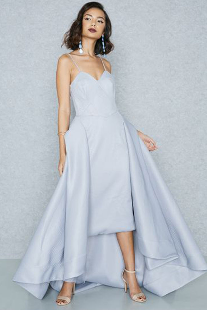 Harper Asymmetrical Mesh Gown by Bariano - RENTAL   The Fitzroy