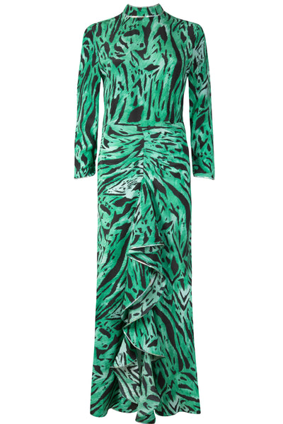 Lucy Green Tiger Print High Neck Gown by Rixo London - RENTAL