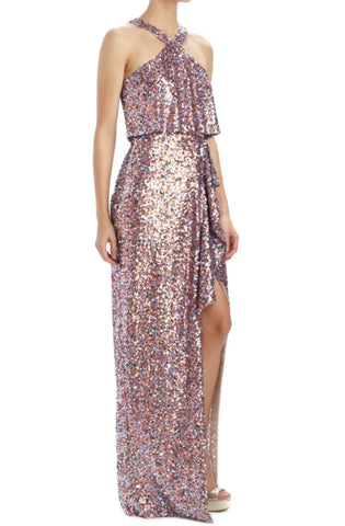 Sweethearts Sequin Halter Neck Gown by ML Monique Lhuillier - RENTAL