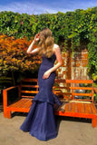 Hayworth Navy Mesh Gown by Bariano - RENTAL