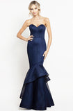 Navy trumpet mesh gown by Bariano