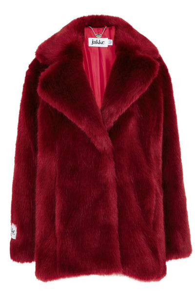 Hailey Faux Fur Red Coat by JAKKE - RENTAL