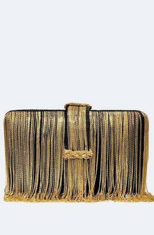 black and gold braided belt chunky clutch Simitri designs