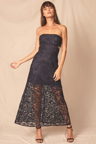 Jemma Lace Strapless Dress by Allen Schwartz - RENTAL