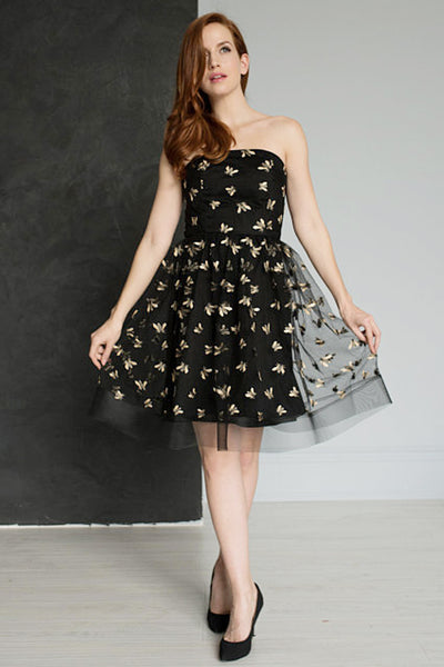 Queen Bee Embroidered Cocktail Dress by Jordan de Ruiter - RENTAL