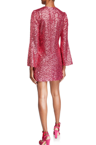 Pink Sequin Bell Sleeve Shift Dress by Jill Jill Stuart - RENTAL