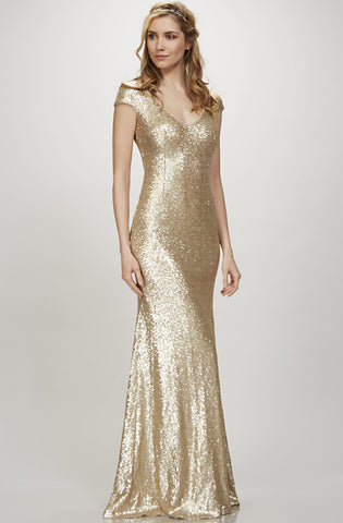 Kaylee Cap Sleeve Gold Sequin Gown by Theia Couture - RENTAL