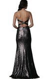 Sequin open back gown Theia Couture