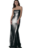 black sequin gown Theia Couture