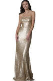Kim Cross Back Gold Sequin Gown by Theia Couture - RENTAL