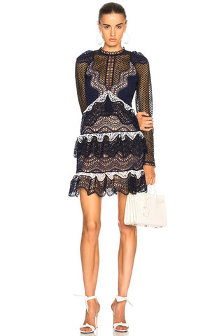 Wave Guipure Lace Dress by Self Portrait - RENTAL