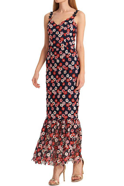 Poppy Lace Applique Floral Midi Dress by ML Monique Lhuillier - RENTAL