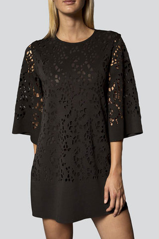 Lasercut Dress in Black by Narces - RENTAL