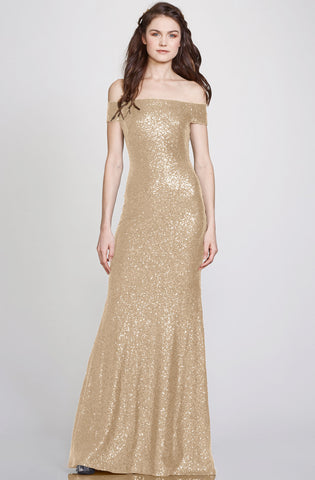 Leigh Off The Shoulder Gold Sequin Gown by Theia Couture - RENTAL