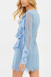 Head in the Clouds Ruffle Mini Dress by Keepsake - RENTAL