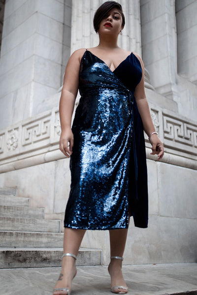 Aubrey Sequin Wrap Dress - RENTAL