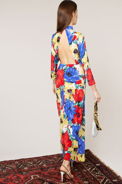 Lucy Diana Floral Print High Neck Gown by Rixo London - RENTAL