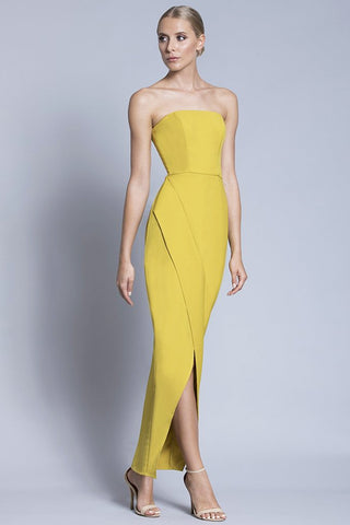 yellow strapless gown -rental