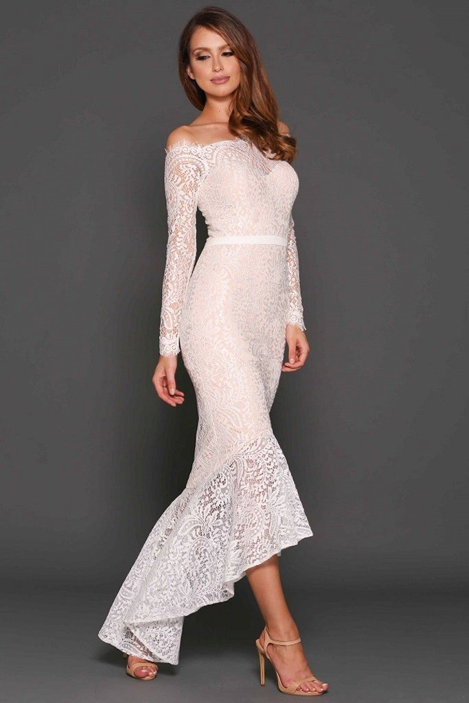 Marchesa Lace Gown in White by Elle Zeitoune - RENTAL | The Fitzroy