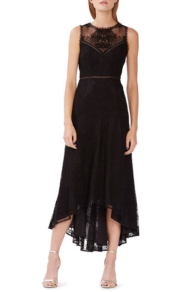 Jet Black Lace Midi Dress by Monique L'Hullier