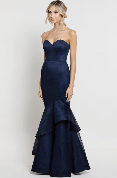 Mermaid navy formal gown rental