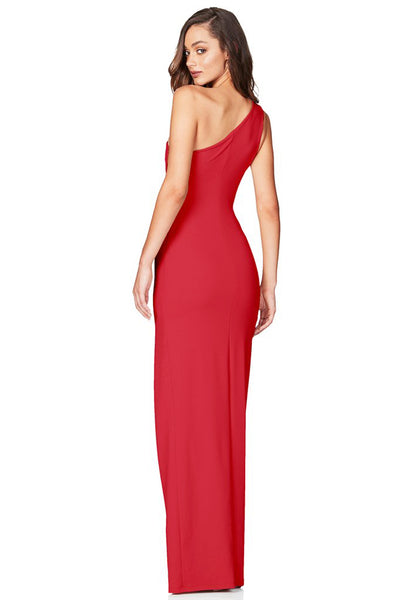 Red One Shoulder Gown by Nookie