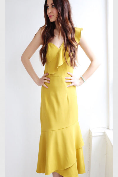 Mindy Mustard Midi Dress by Bariano - RENTAL