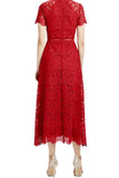 Georgina Lace Midi Dress in Red by ML Monique Lhuillier - RENTAL