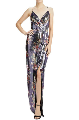 Selena Sequin Floral Print Gown by ML Monique Lhuillier - RENTAL