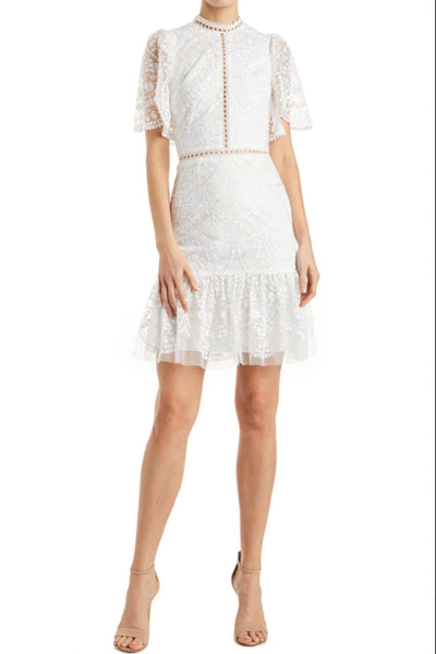 Blythe High Neck White Mini Dress by ML Monique Lhuillier - RENTAL