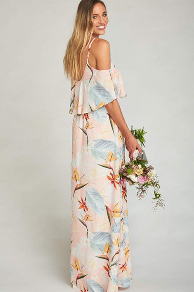 Caitlin Cold Shoulder Ruffle Dress in Paradise Party by Show Me Your Mumu - RENTAL