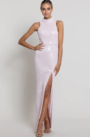 Nadia High Neck Column Gown by Bariano - Rental