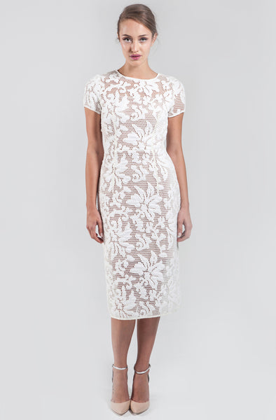 Hattie White Mesh Midi Dress by Narces - RENTAL