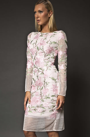 Leila Mesh Floral Dress by Narces - RENTAL